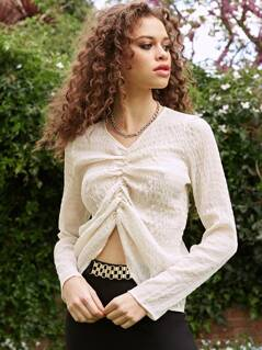 Ruched Sheer Long Sleeve Top