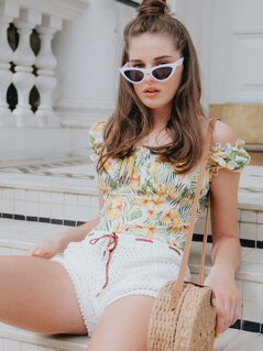 Tropical Print Button Frill Trim Crop Top