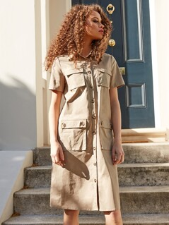 Cargo Pocket Belted Dress