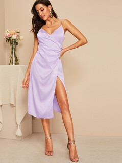 Surplice Neck Wrap Satin Dress
