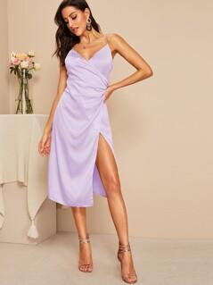 Surplice Neck Wrap Satin Dress