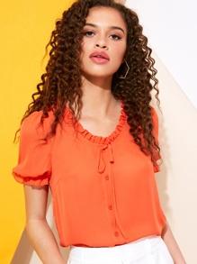 Orange | Blouse | Button | Front | Neon | Neck | Tie | Ty