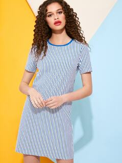 Vertical Stripe T-Shirt Dress