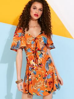 Tropical Bow Front Tea Dress