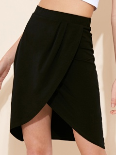 Jersey Wrap Front Skirt