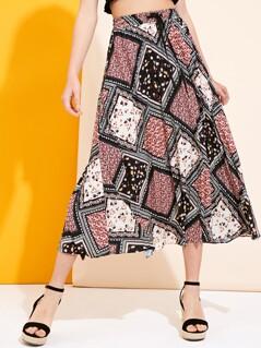 Border Scarf Print Drawstring Waist Pleated Skirt