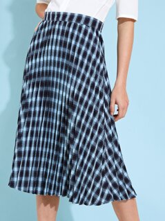 Pleated Check Midi Skirt