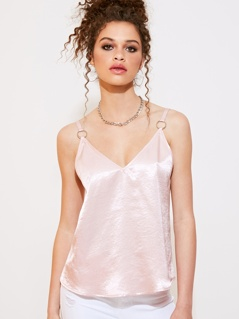 Double V Neck O-ring Detail Satin Cami Top