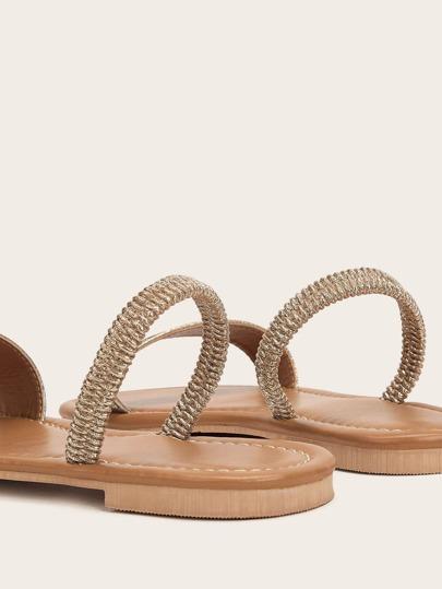 SheIn / Rhinestone Decor Open Toe Flat Sandals