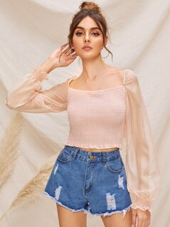 Ruffle Trim Shirred Bodice Lantern Sleeve Top