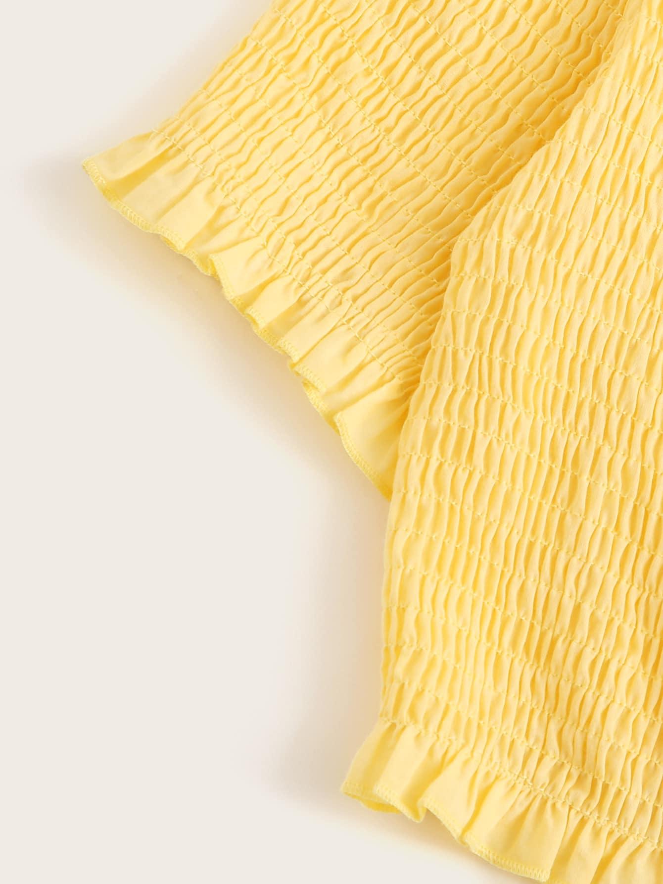 SHEIN / Top corto fruncido ribete fruncido con cordón