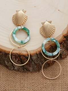 Seashell Marble Detail Circle Accents Earrings