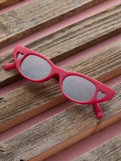 Heart Detail Mirror Lens Cat Eye Sunglasses