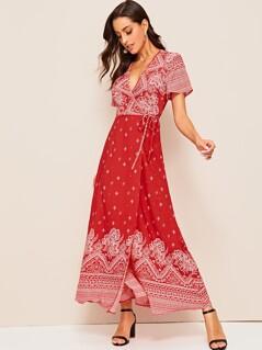 Tribal Print Tie Side Wrap Dress