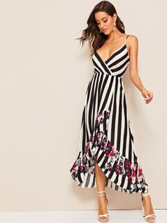 Floral and Striped Dip Hem Cami Dress
