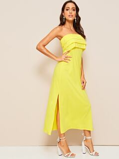 Neon Yellow Layered Foldover Split Tube Dress