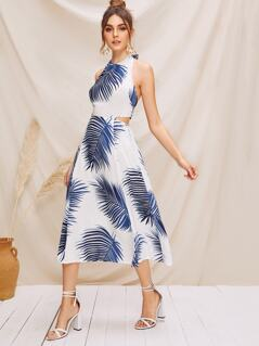 Tied Open Back Tropical Print Halter Dress