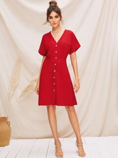 Rolled Cuff Button Front Tea Dress