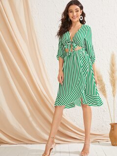Roll Tab Sleeve Knot Cut Out Front Striped Dress