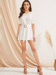 V-neck Buckle Belted Dress