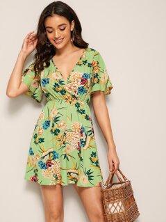 Botanical Print Flutter Sleeve Wrap Dress