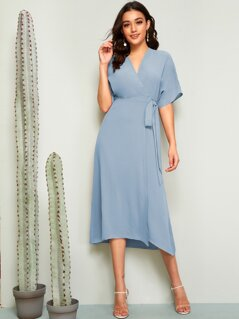 Batwing Sleeve Self Belted Wrap Dress