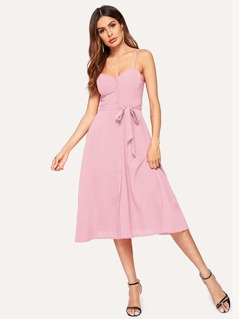 Sweetheart Neck Button Front Cami Dress