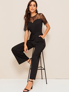 Lace Yoke Sweetheart Neck Pocket Side Jumpsuit