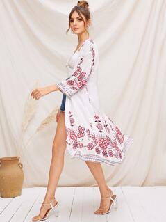 Drop Shoulder Floral Print Kimono