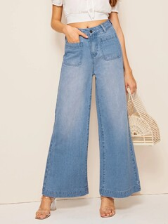 Pocket Patch Wide Leg Jeans