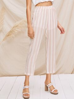 Elastic Waist Striped Tapered Pants