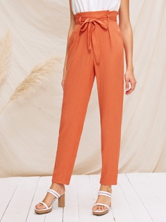 Paperbag Waist Self Belted Tapered Pants