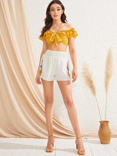 Shirred Waist Embroidered Floral Shorts