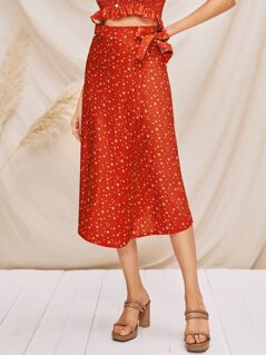 Neon Orange Allover Print Tie Side Wrap Skirt