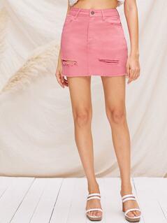 Ripped Detail Raw Hem Denim Skirt