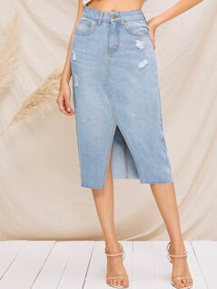Ripped Detail Bleach Wash Split Denim Skirt