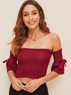 Tie Shoulder Frill Trim Bardot Sweater