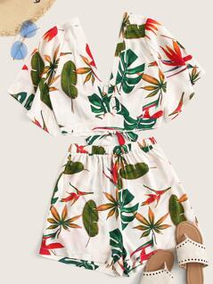 Tropical Print Double V Neck Top and Shorts Set