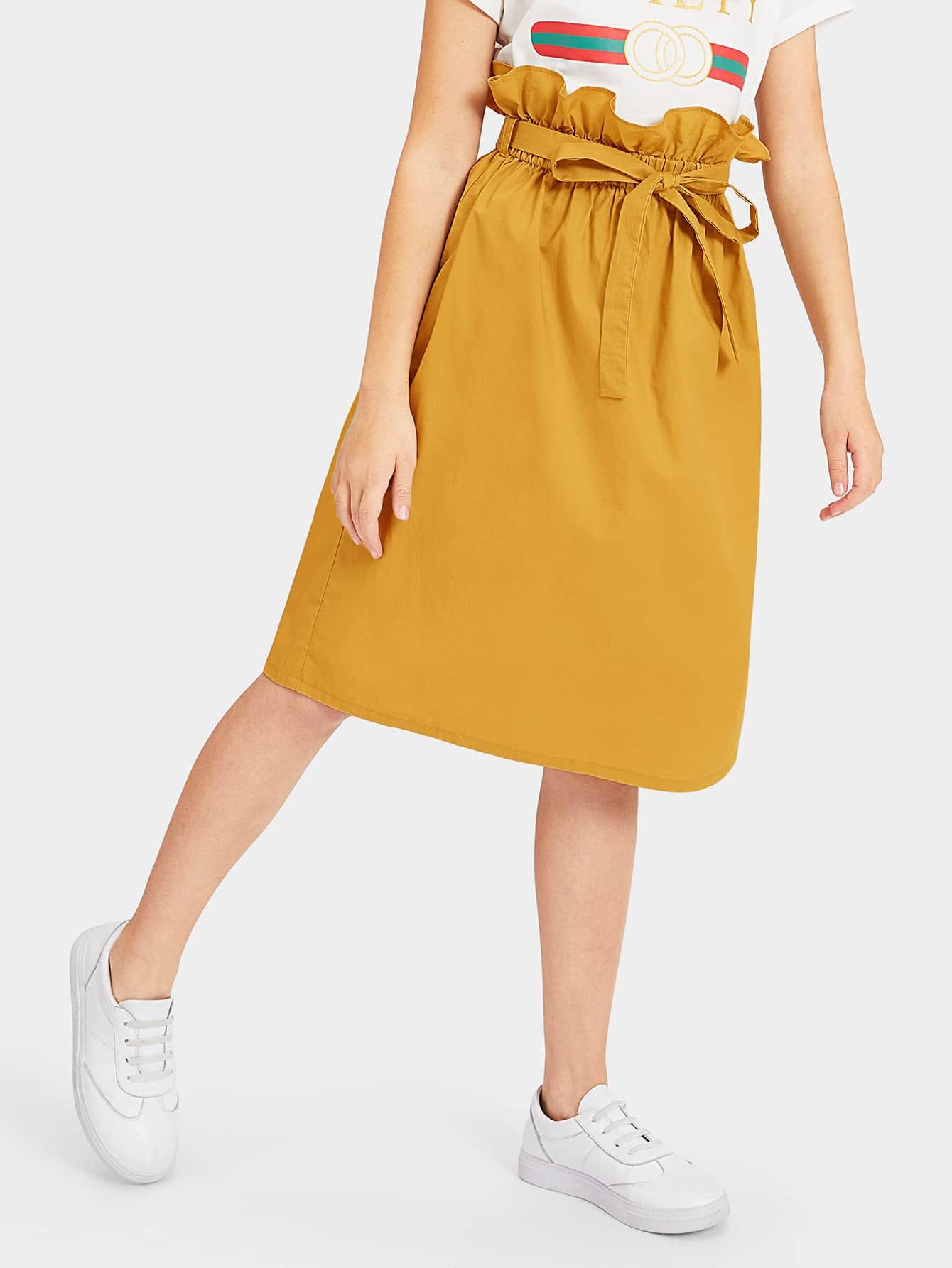 Фото - Юбку с поясом и присборенной талией для девочек от SheIn желтого цвета