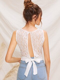 Lace Panel Tie Back Crop Top