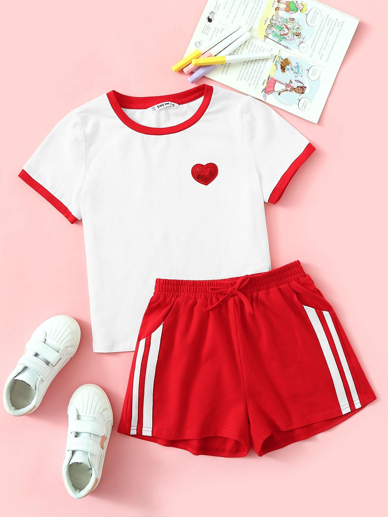 Фото - Топ с контрастной отделкой и шорты с полосками для девочек от SheIn цвет многоцветный