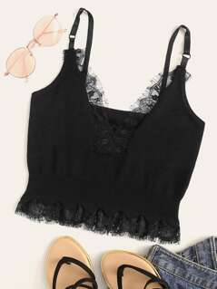 Eyelash Lace Trim Rib-knit Panel Cami Top