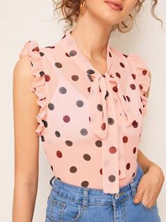 Tie Neck Ruffle Trim Polka Dot Semi Sheer Top