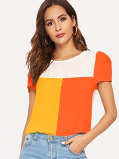 Neon Color-block Top