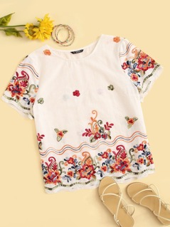 Embroidery Floral Print Blouse