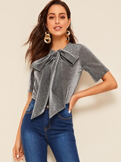 Bow Tie Neck Glitter Top