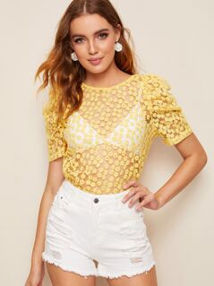 Puff Sleeve Flower Embroidered Mesh Top Without Bra