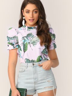 Frilled Neck Puff Sleeve Tropical Print Top