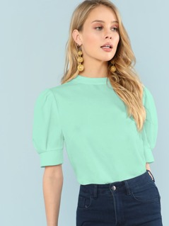 Mock-Neck Puff Sleeve Top