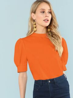 Neon Orange Puff Sleeve Top